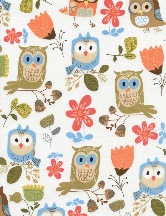 Details about Fun Prints of Owls by Timeless Treasures for.