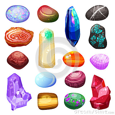 Set Of Multicolored Precious Stones Round Vector Royalty Free.