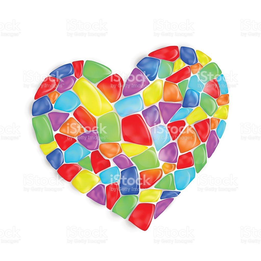 Heart Is Composed Of Multicolored Stones stock vector art.