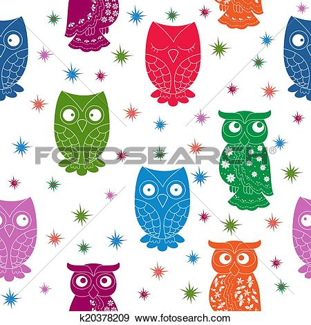 Clip Art of Multicolour owl and stars seamless pattern k20378209.