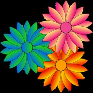 Multi Coloured Daisies Clip Art at Clker.com.
