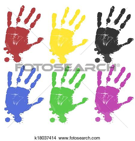 Clipart of Multicoloured hand prints k18037414.