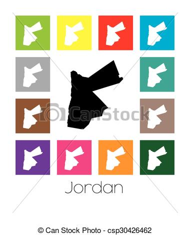 Clip Art Vector of Multicoloured Map of the country of Jordan.