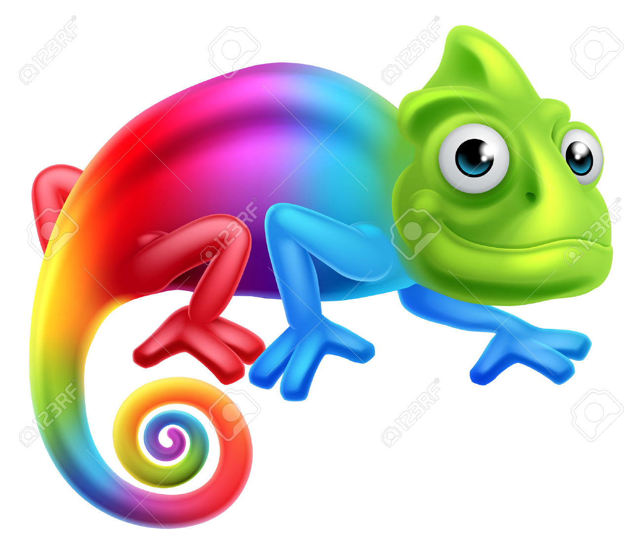 A Cute Cartoon Rainbow Coloured Multicoloured Chameleon Lizard.