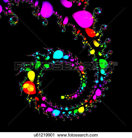 Clipart of Multicoloured abstract patterns against black.