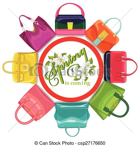 Clipart Vector of Multicoloured fashion womens handbag.Circle.