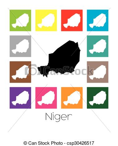 Vector Clip Art of Multicoloured Map of the country of Niger.