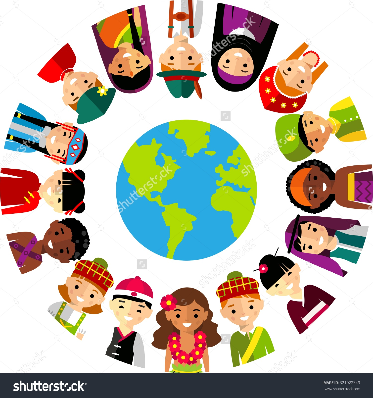 Multicultural world clipart.
