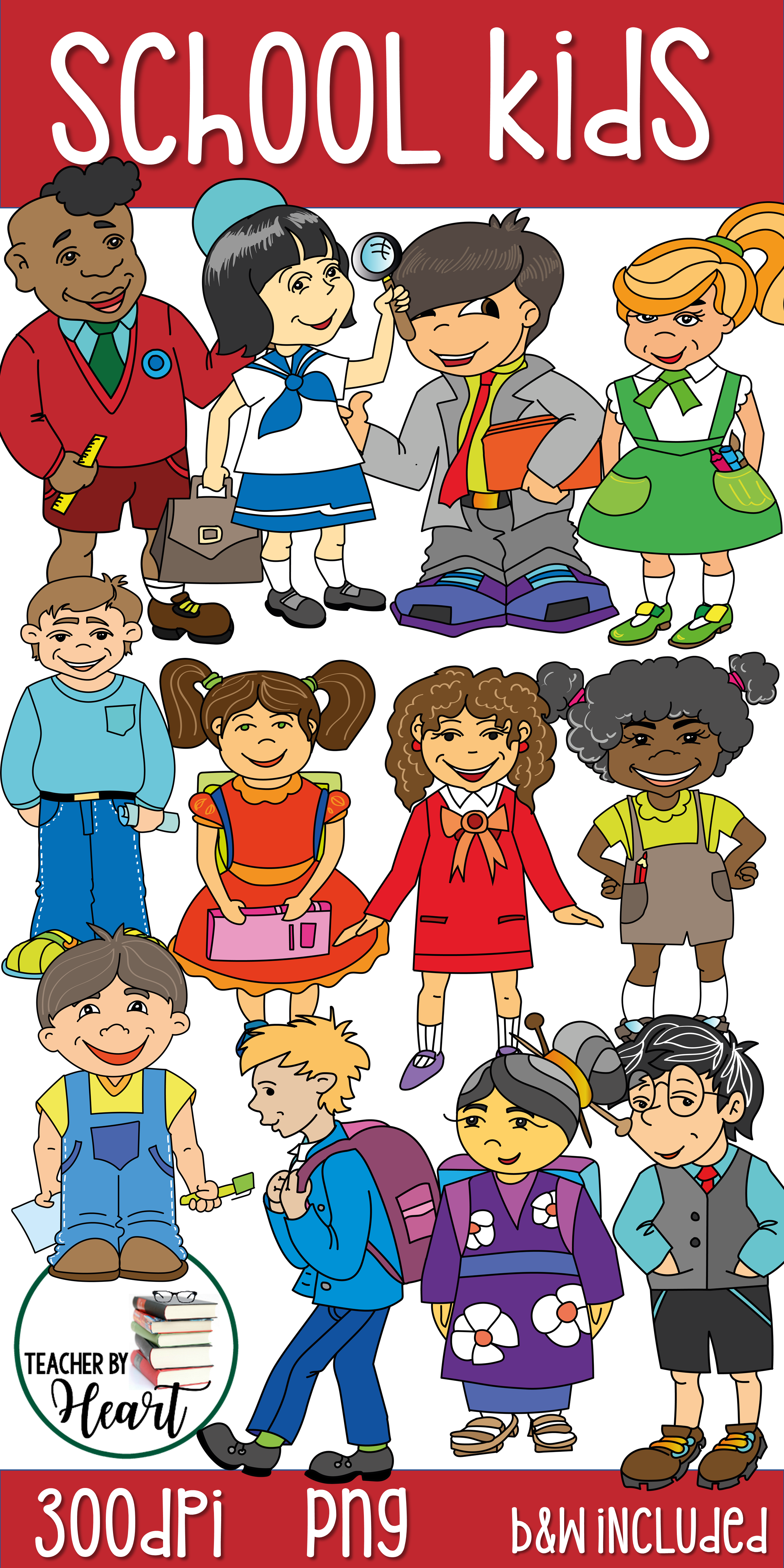 $5 Multicultural School Kids Clip Art set: a collection of.