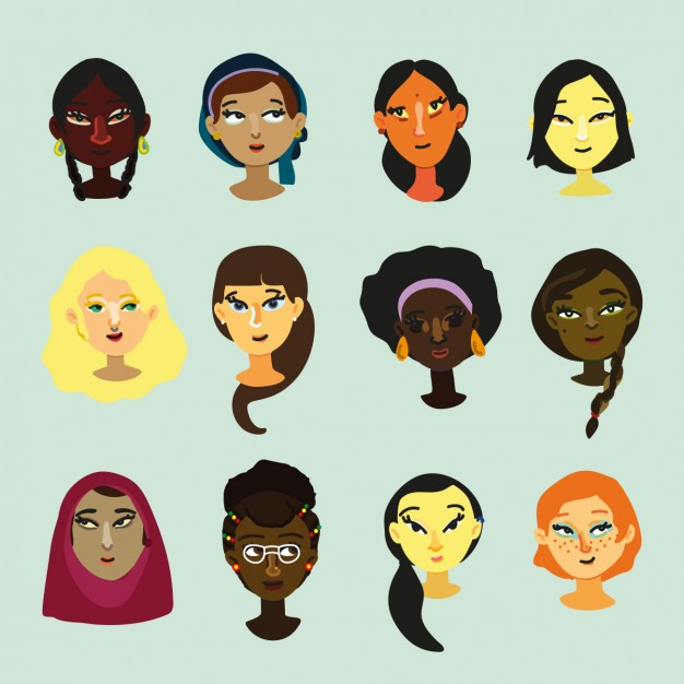 Multicultural women faces design Vector.