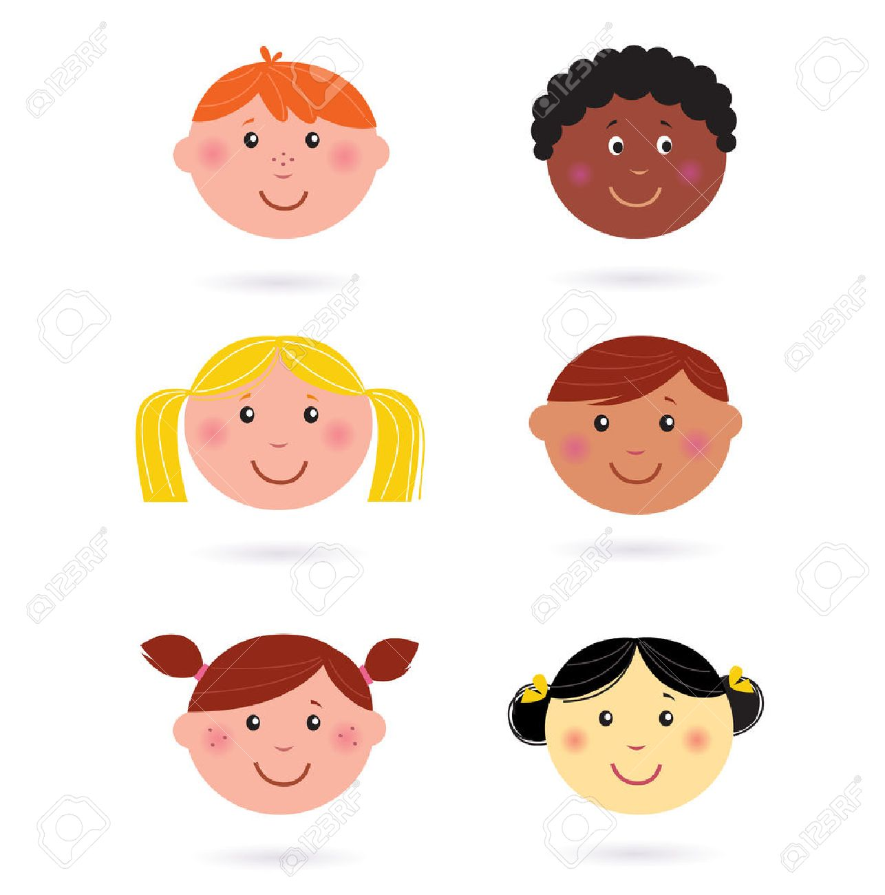 Cute multicultural children heads icons.