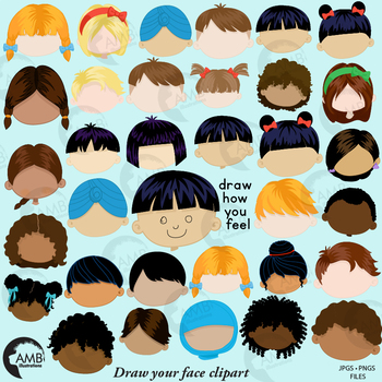 Multicultural faces, Feelings Clipart in color, draw how you feel, AMB.