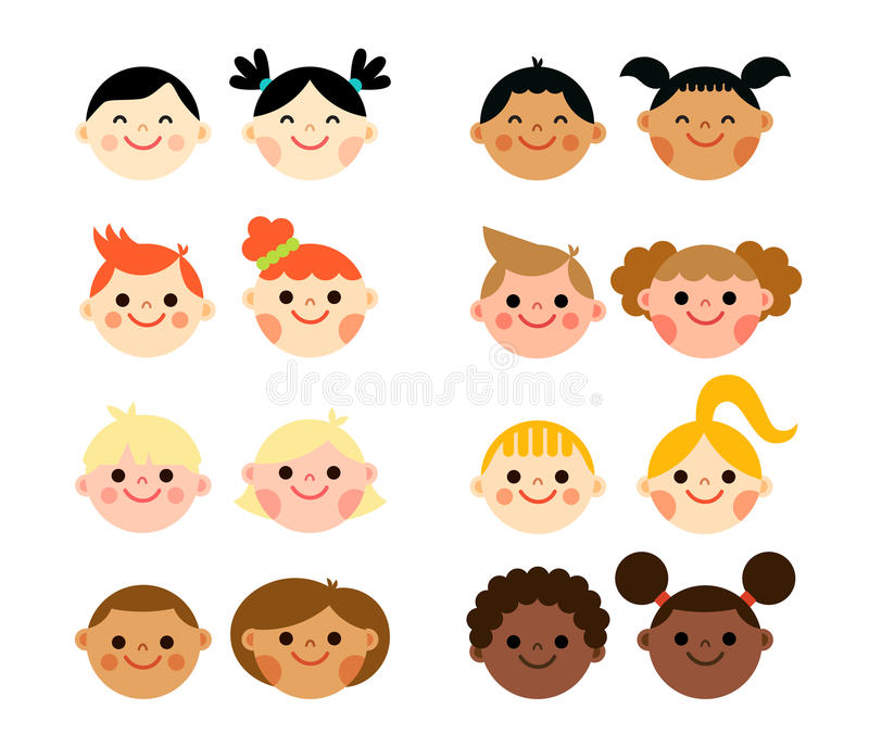 Multicultural Faces Stock Illustrations.