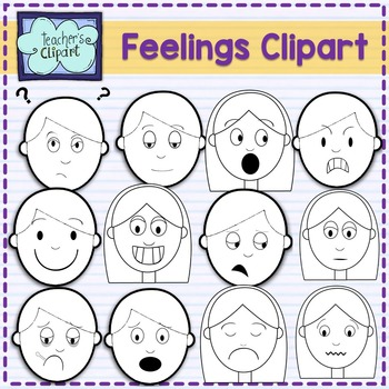 Feelings multicultural faces clipart.