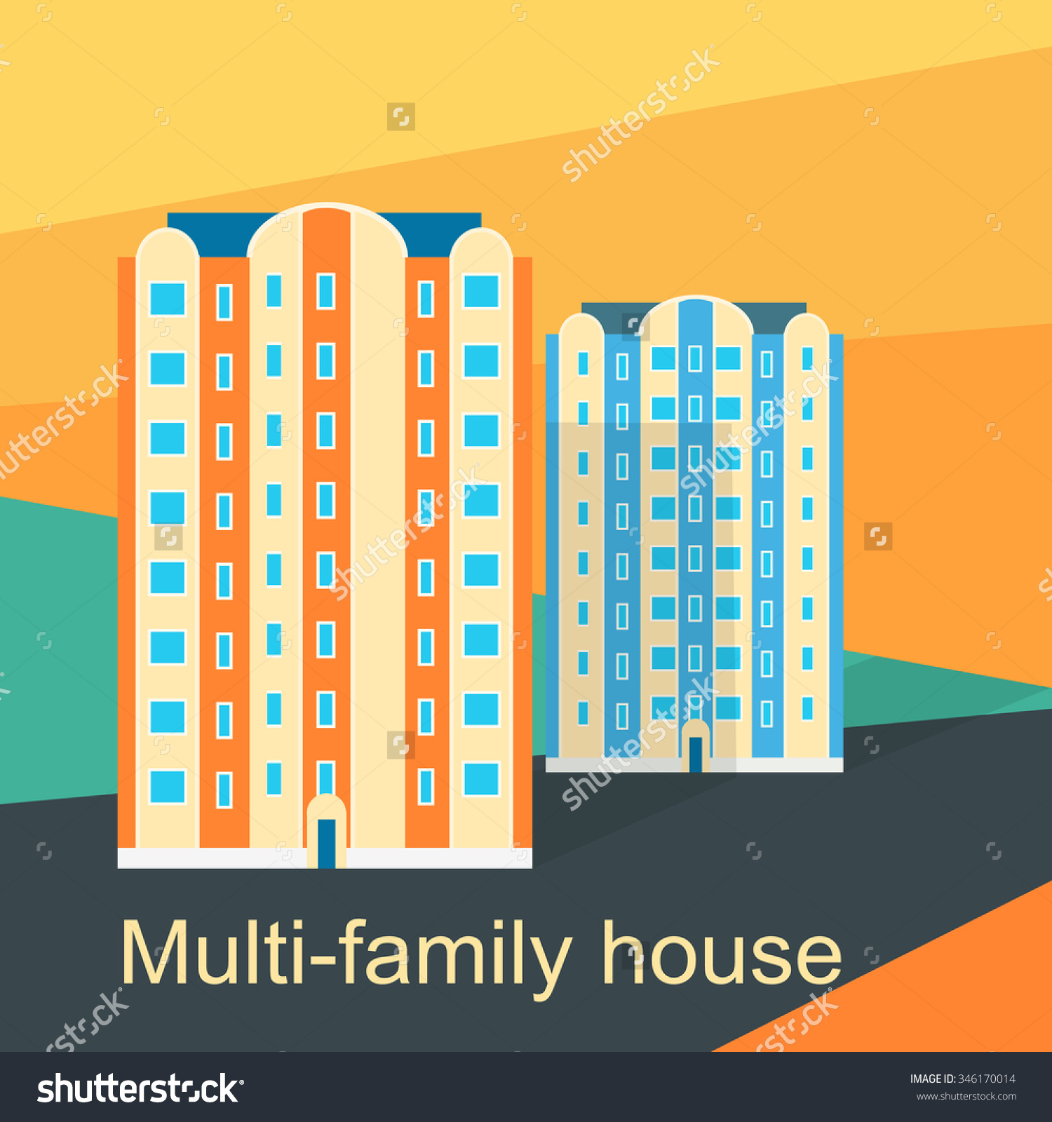 Multifamily House Design Flat Apartment Architecture Stock Vector.