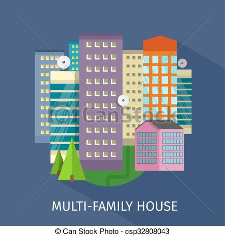 Vector Clipart of Mobile Home, Flat Rent, Multi.