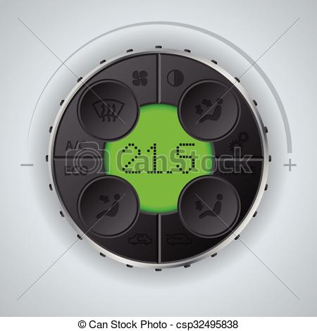 Vectors of Multifunctional car clima control with green lcd.