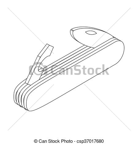 Vector of Multifunctional pocket knife icon in isometric 3d style.