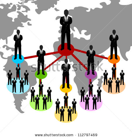 Business Network Concept Present By Multilevel Stock Illustration.