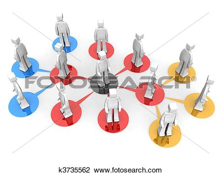 Clip Art of Business network and multi level concept k3735562.