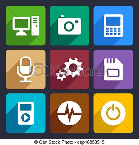 Vector Clip Art of Multimedia flat icons set 9.