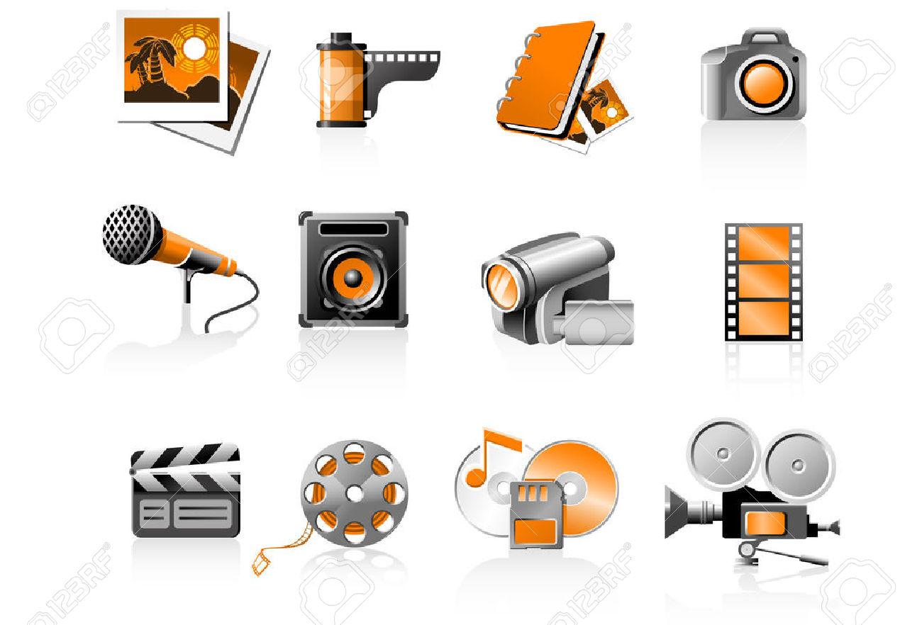 Multimedia Icons Set.