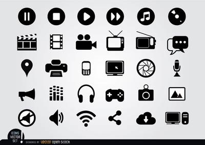 Multimedia Clip Art, Vector Multimedia.