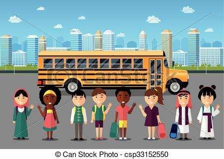 Clipart Vector of Multinational kids going to school. Arabic.