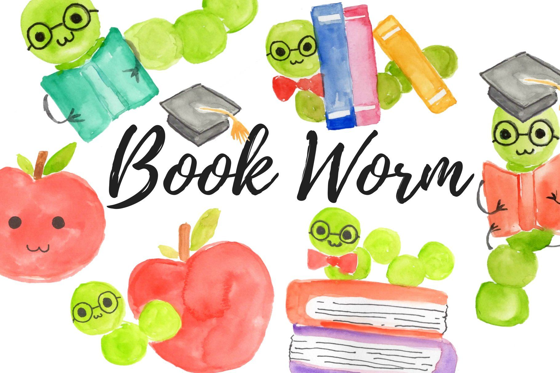 Watercolor school bookworm clipart , #ad, #piece#transparent.