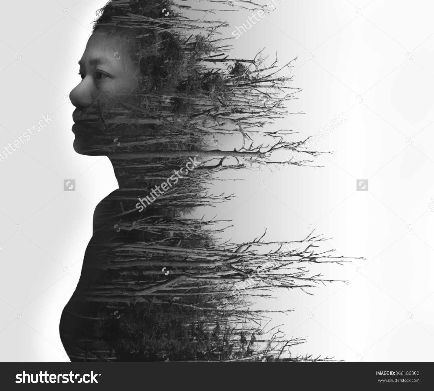 Double Exposure Portrait Young Woman Dead Stock Photo 366186302.
