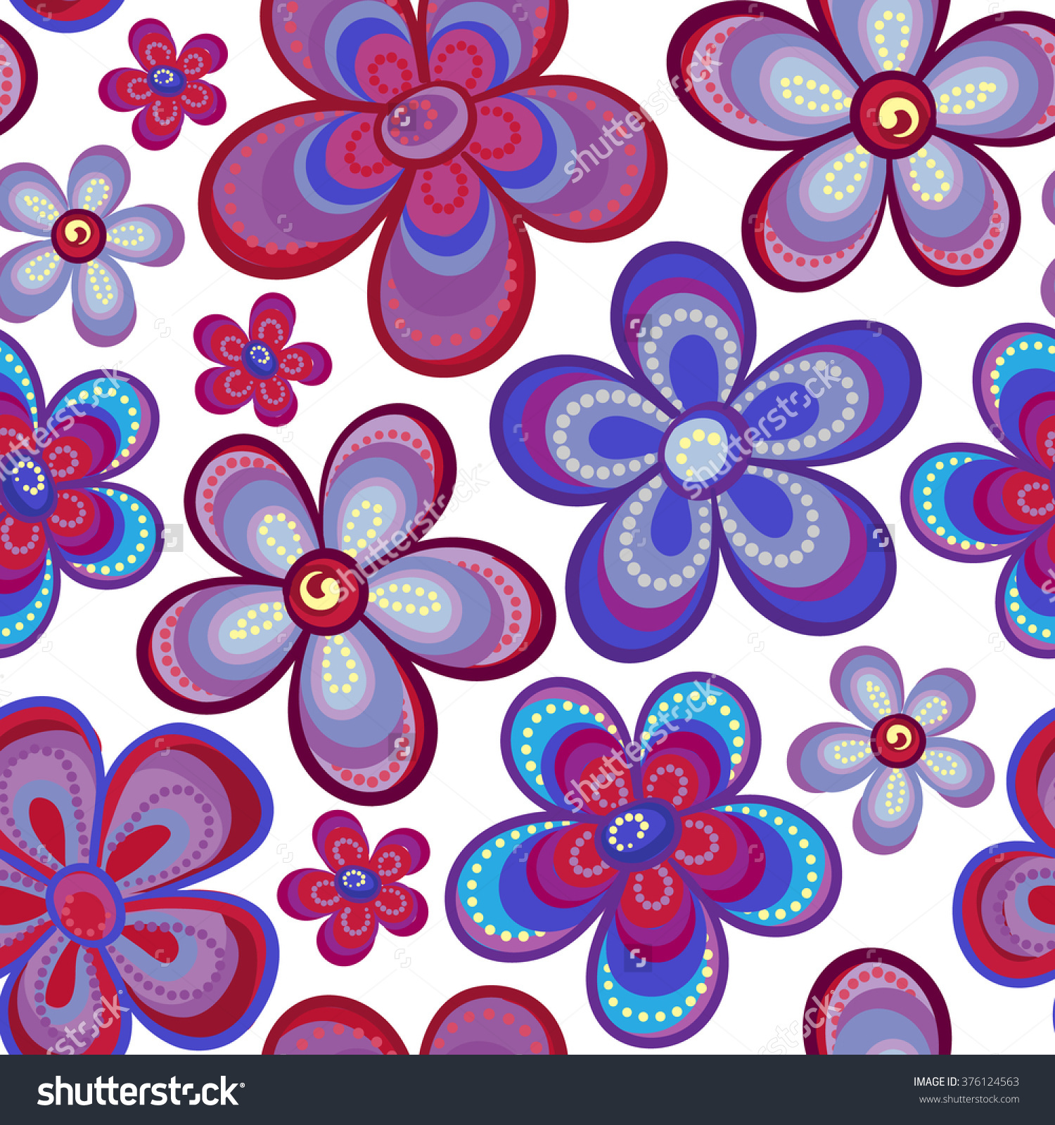 Seamless Floral Pattern In Bright Multiple Colors. Colorful.