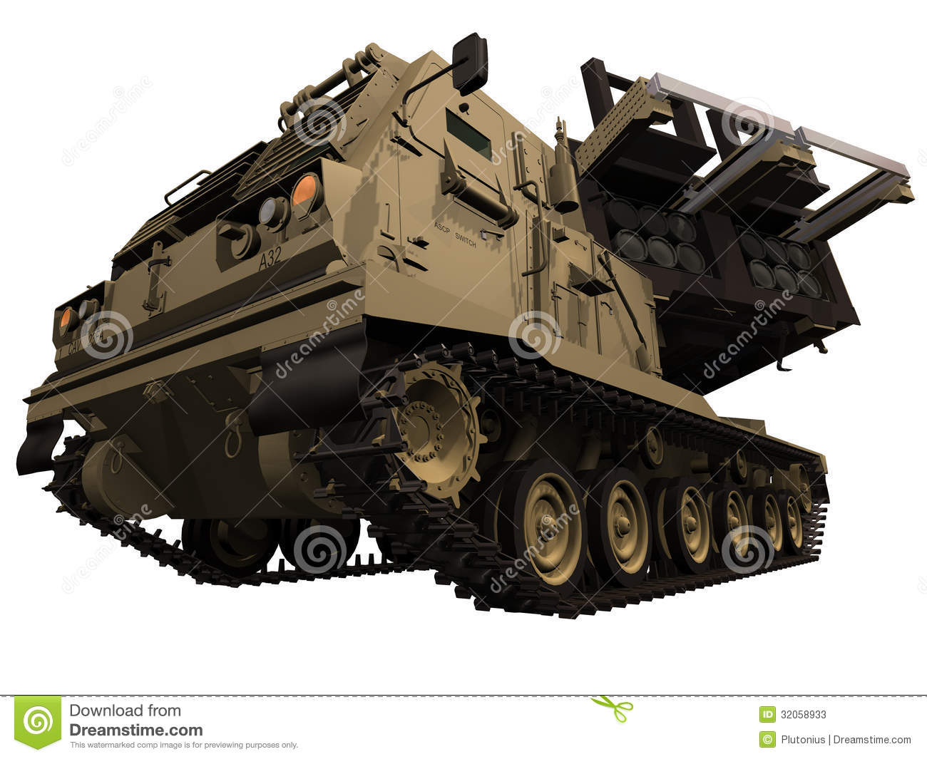 3d Rendering Of A M270 MLRS Front View Stock Photos.