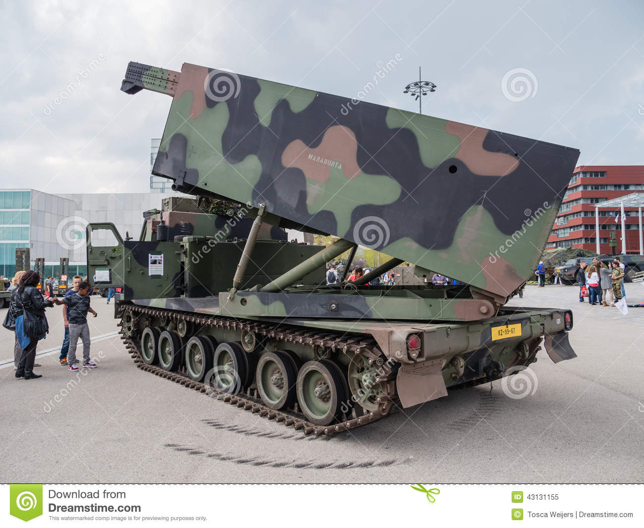 Military MLRS Rocket Launcher Editorial Stock Photo.