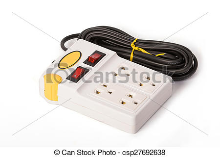 Stock Photos of Multiple socket extension cord with switch.