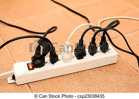 Drawings of overloaded power boards outlet multiple socket.