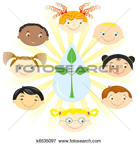 Clipart of Nationality boys.Multi racial children on white back.
