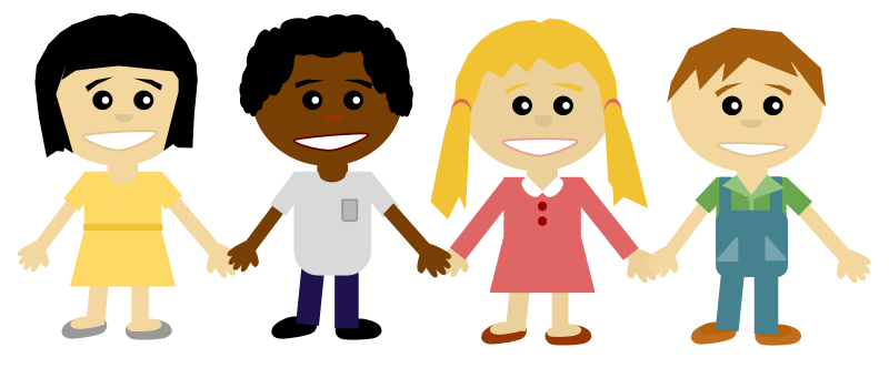 Students holding hands clipart.