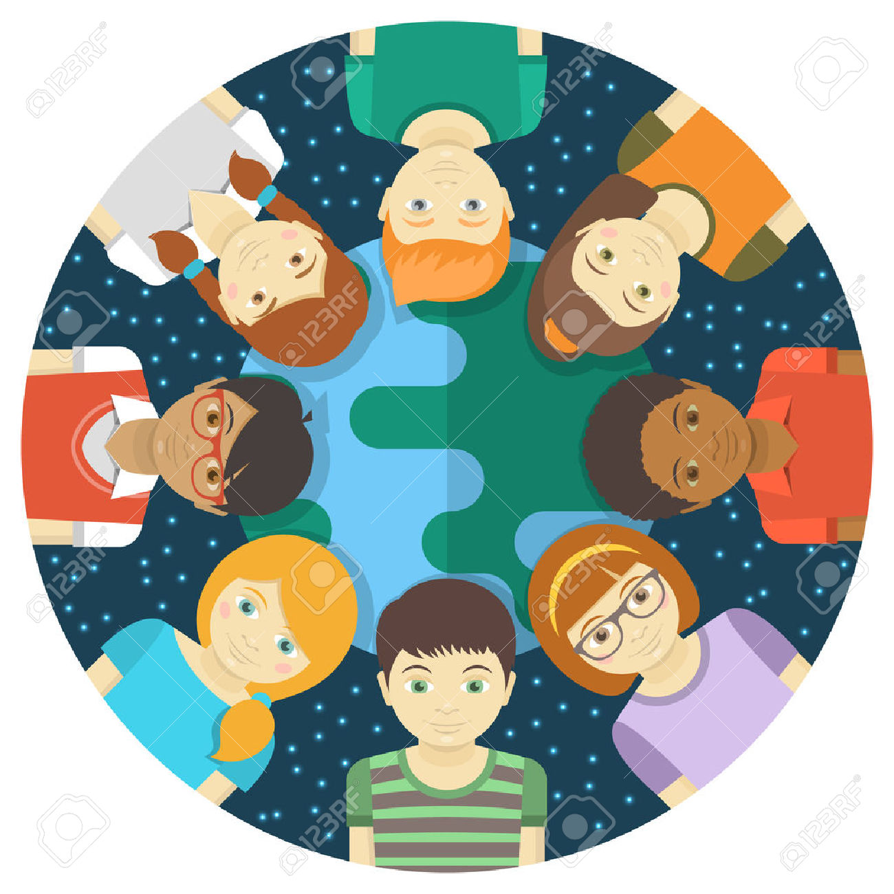Teens clipart multi racial.