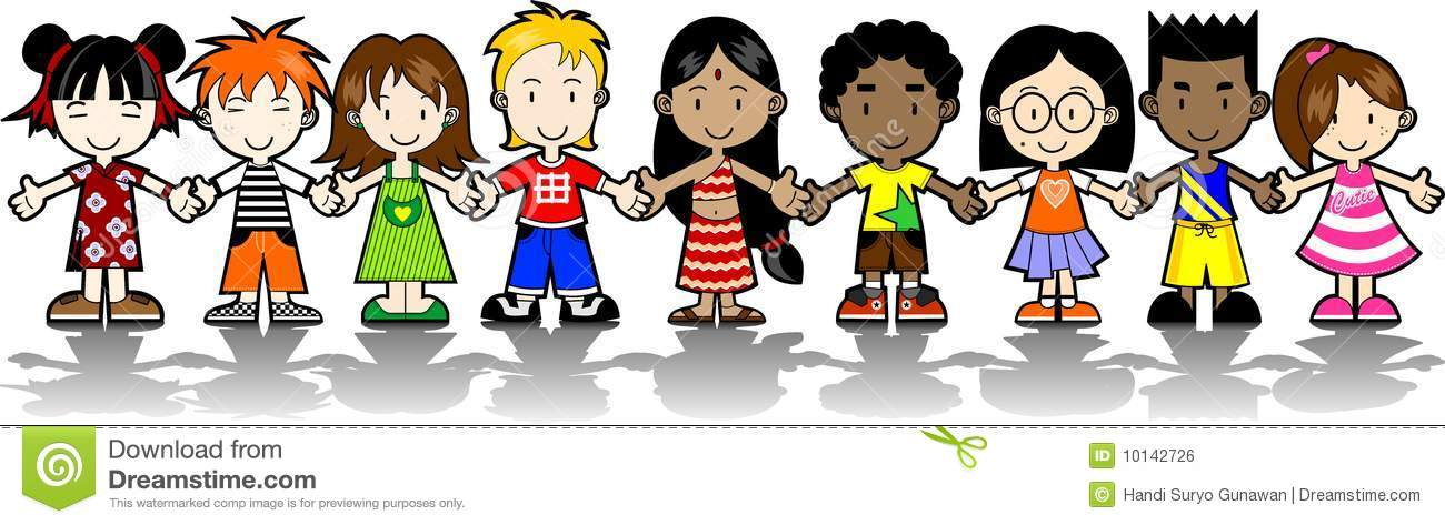 Go to school multiracial clipart.