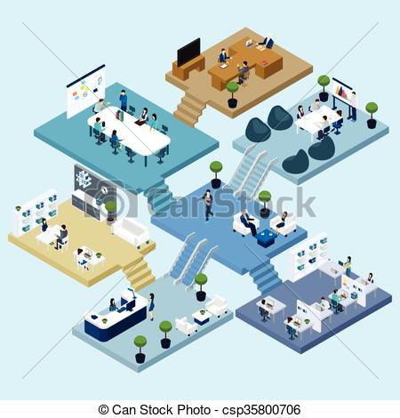 Vector Clipart of Office Isometric Icon.