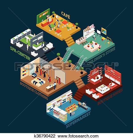Clipart of Multi Storied Shopping Mall Isometric Icon k36790422.