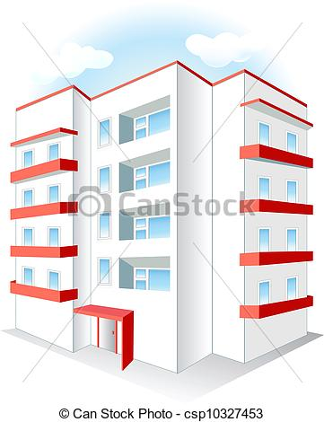 Clipart Vector of Multistoried building isolated on white.