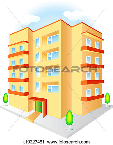 Clipart of Multistoried building k10327451.