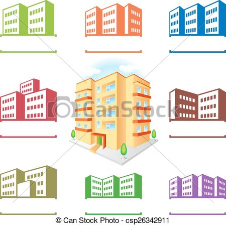 Vector Clip Art of Multistoried building site icons logo set.