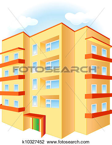 Clipart of Multistoried building k10327453.