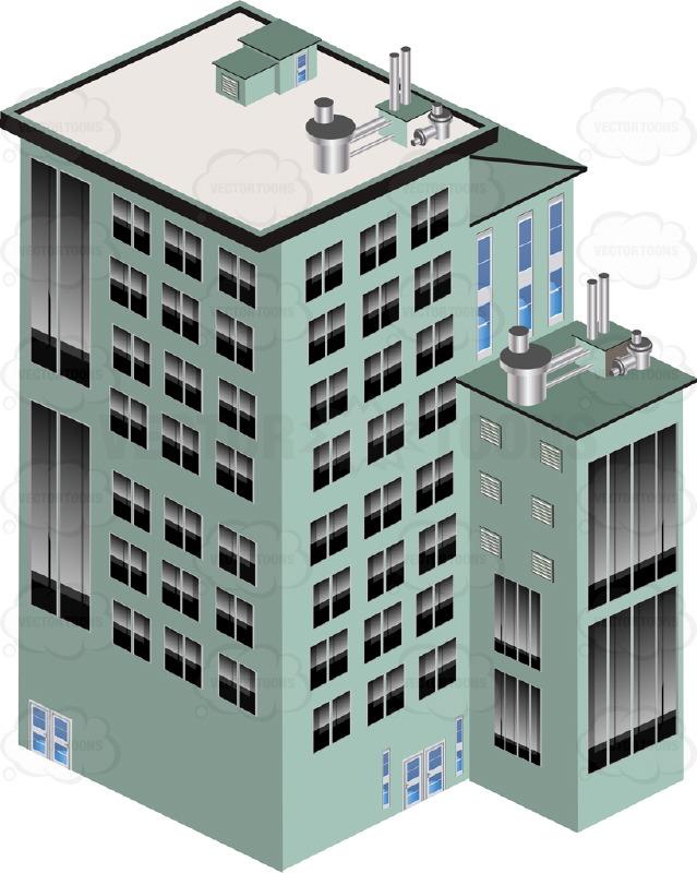 Three Dimensional Green City Skyscraper Building, Multi.