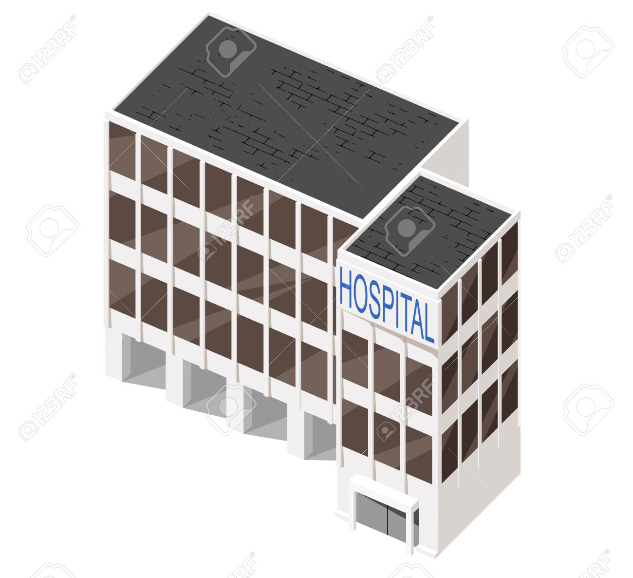 Vector Illustration Of 3d Building. Isometric View Of Multi.