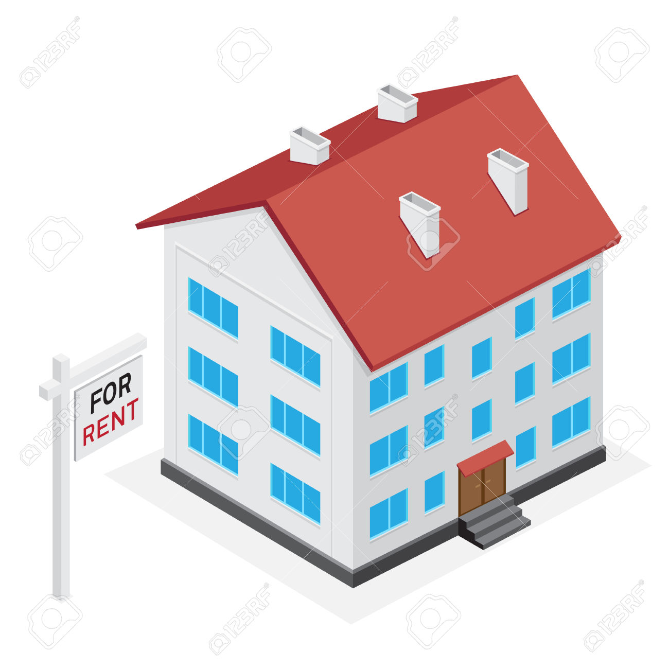 Simple Multistory House Icon. Home For Rent Or Sale On White.
