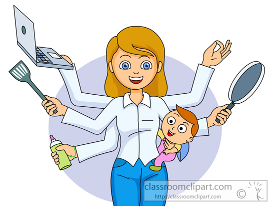 Multitasking Woman Clipart.