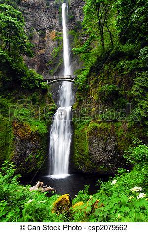 Stock Photo of Multnomah Falls Oregon.